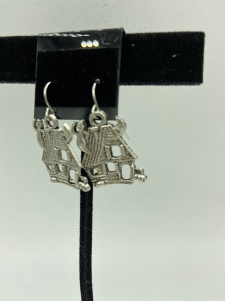Halloween Silvertone Haunted House with Cat and Pumpkin Dangle Charm Earrings