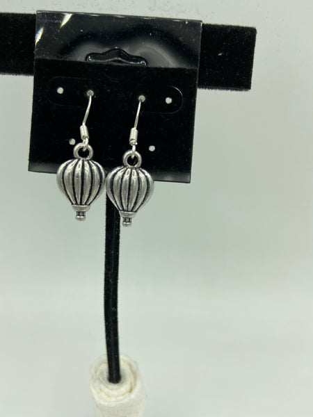 Silvertone Hot Air Balloon Charm Dangle Earrings with Sterling Silver Hooks