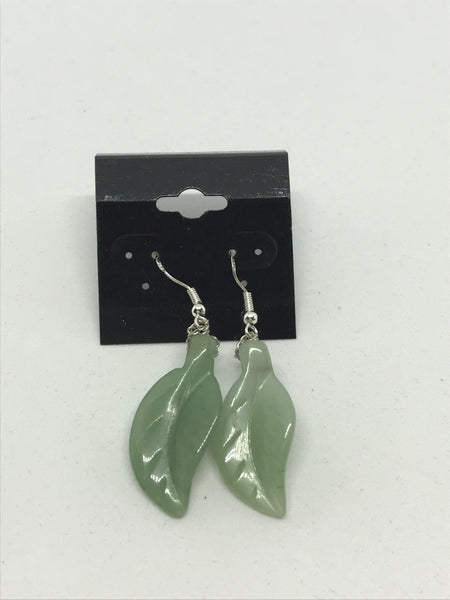 Natural Jade Gemstone Carved Leaf Sterling Silver Dangle Earrings