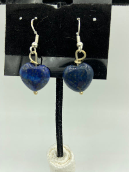 natural lapis gemstone carved heart sterling silver dangle earrings