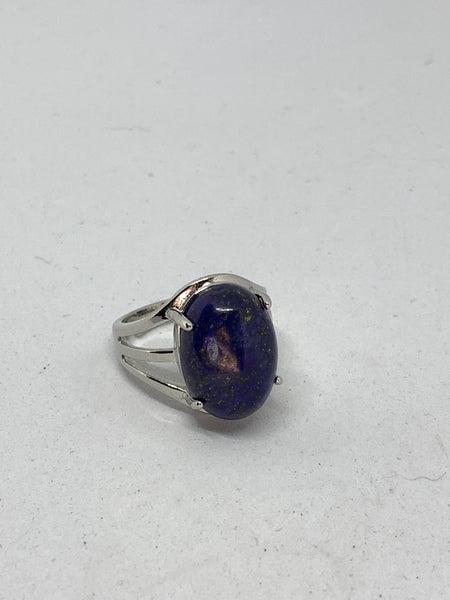 Natural Lapis Gemstone Oval Adjustable Silvertone Ring