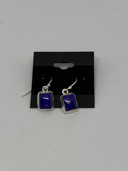 Natural Lapis Gemstone Square Sterling Silver Dangle Earrings
