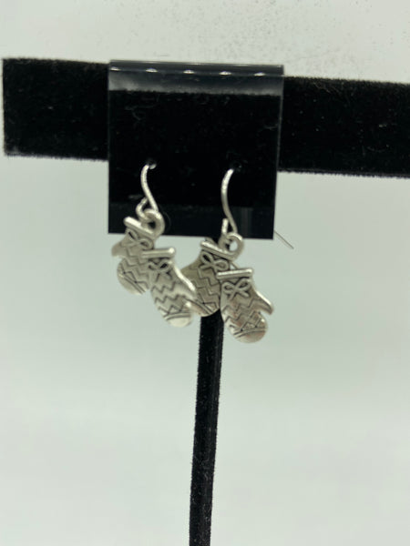 silvertone mittens charm dangle earrings