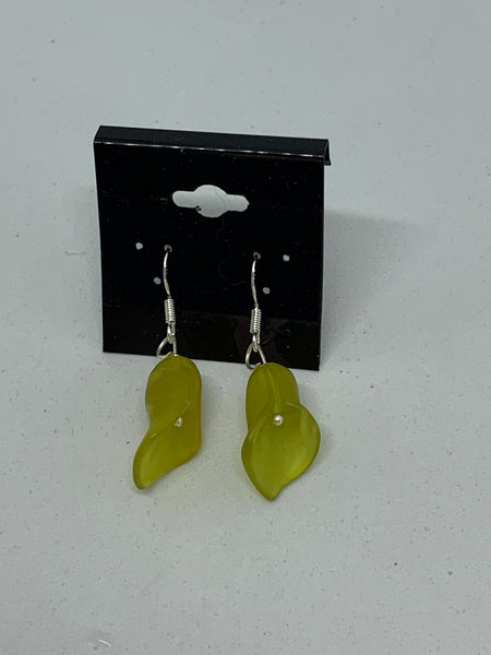 Natural Olive Jade Gemstone Carved Cala Lily Sterling Silver Dangle Earrings