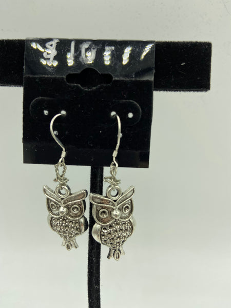 Silvertone Owl Charm Dangle Earrings Silvertone or Sterling Hooks