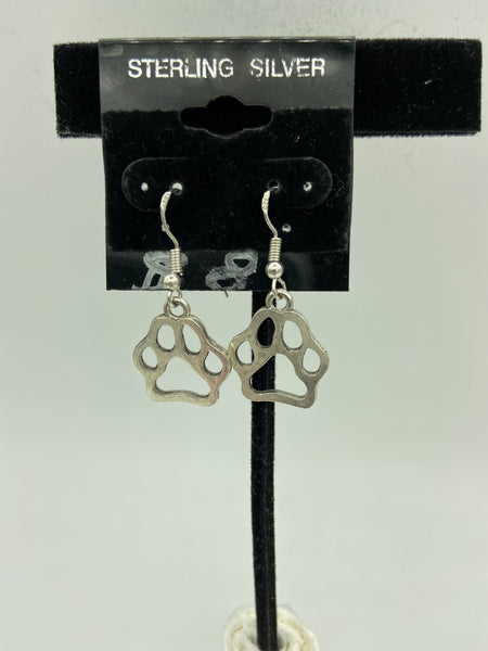 silvertone paw print charm dangle earrings with sterling silver hooks