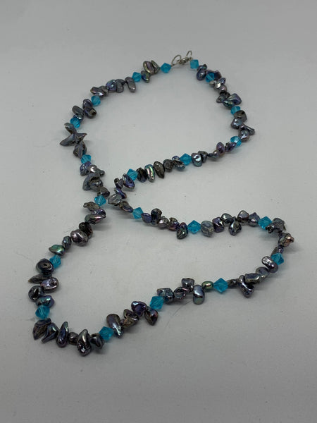 Natural Peacock Pearl and Turquoise Colored Glass Beaded Necklace