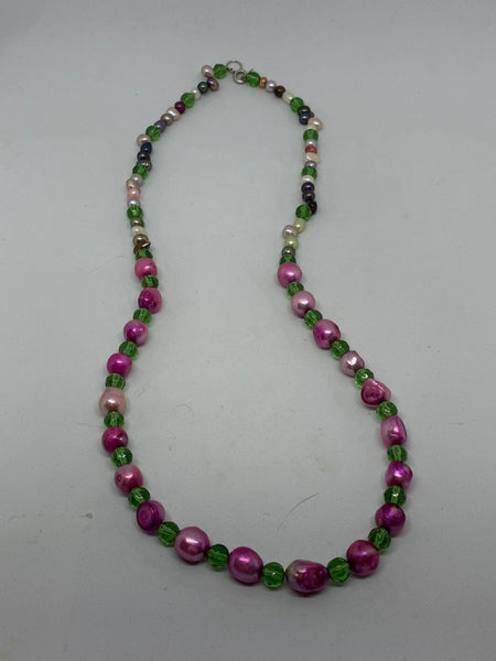 Multicolor Baroque Pearl and Faceted Glass Accent Beaded Necklace