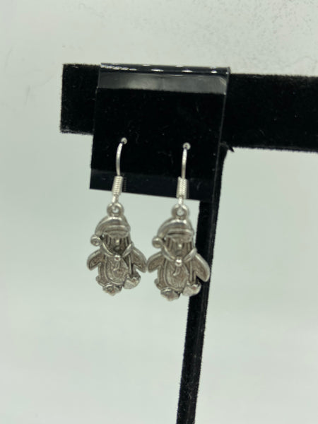 Christmas Silvertone Penguin with Santa Hat Charm Dangle Earrings