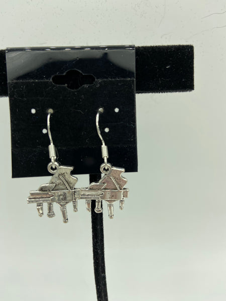 Silvertone Piano Musical Instrument Charm Dangle Earrings Sterling Silver Hooks