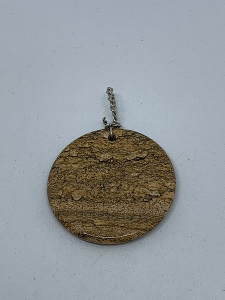 Natural Picture Jasper Gemstone Coin Pendant