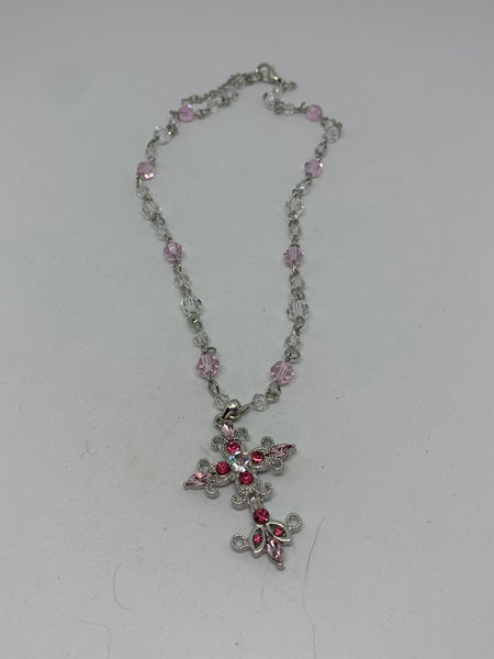 Silver Cross Pendant with Pink and Clear Czs Beaded Adjustable Necklace