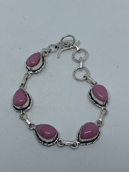 Natural Pink Opal Gemstone Teardrops Sterling Silver Adjustable Link Bracelet