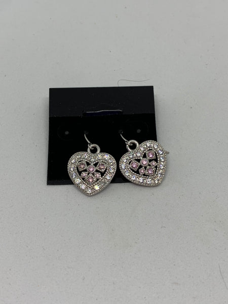Natural Pink Sapphire Gemstone Sterling Silver Heart Earrings