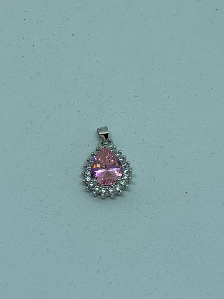 Natural Pink Sapphire Gemstone Sterling Silver Teardrop Pendant