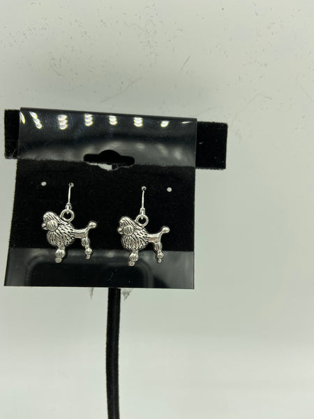 silvertone poodle charm dangle earrings with sterling silver hooks