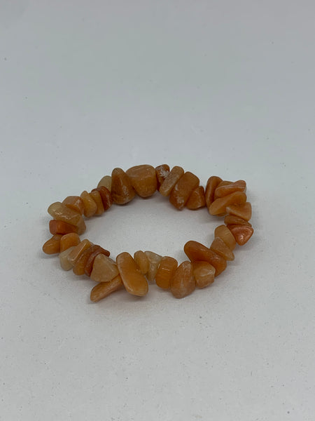 Natural Red Aventurine Gemstone Chips Beaded Stretch Bracelet