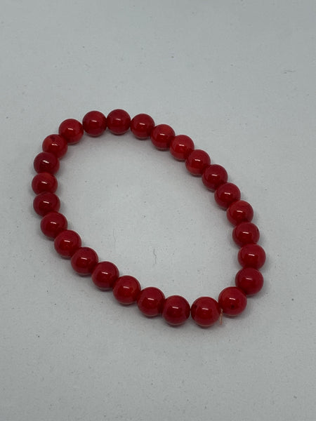 Natural Red Coral Gemstone Round Beaded Stretch Bracelet