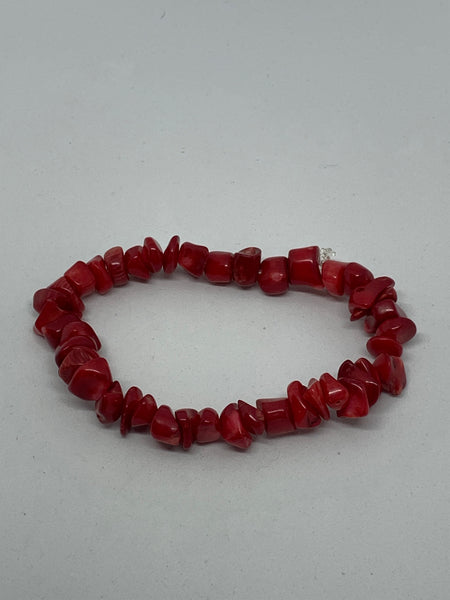 Natural Red Coral Gemstone Tumbled Chips Beaded Stretch Bracelet