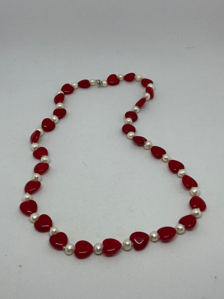 Natural White Pearl and Ruby Heart Gemstone Beaded Necklace