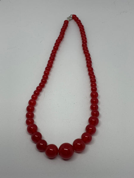 Natural Ruby Gemstone Round Graduated Beaded Necklace