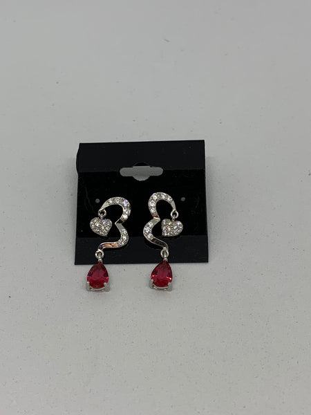Natural Ruby and White Topaz Gemstone Teardrop and Heart Sterling Silver Earrings