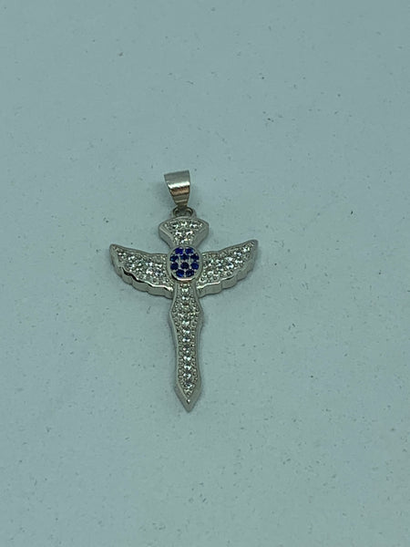 Natural Sapphire Gemstone Sterling Silver Cross Pendant