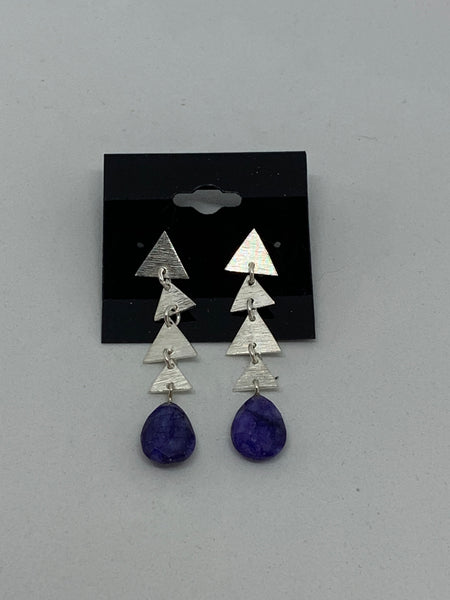 Natural Sapphire Gemstone Teardrop and Sterling Silver Triangles Dangle Earrings