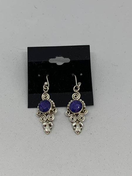 Natural Sapphire Gemstone Round Sterling Silver Fleur De Lis Dangle Earrings