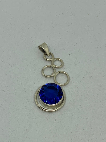 Natural Sapphire Gemstone Round in Sterling Silver Curls Pendant