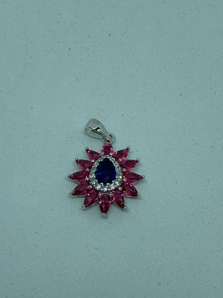 Natural Sapphire and Ruby Gemstone Sterling Silver Teardrop Flower Pendant