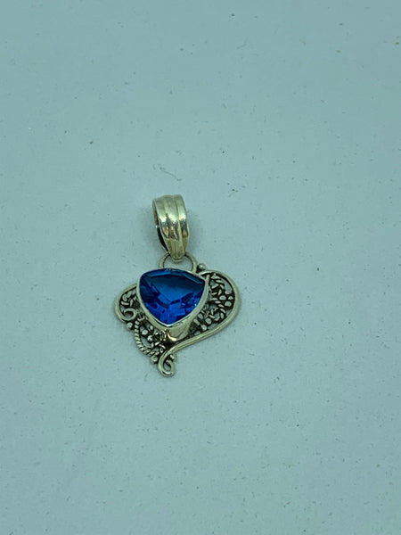 Natural Sapphire Gemstone Triangle Sterling Silver Paisley Pendant