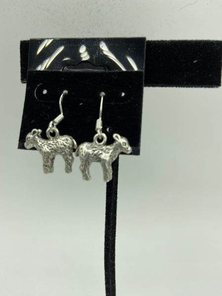 Silvertone 3D Sheep Charm Dangle Earrings with Sterling Silver Hooks