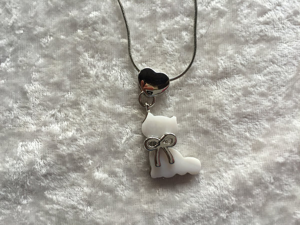 Natural Mother of Pearl Shell Cat Pendant on Adjustable Necklace