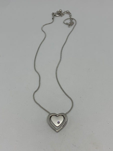 Silver Heart Pendant with Swarovsky Crystal on Adjustable Necklace