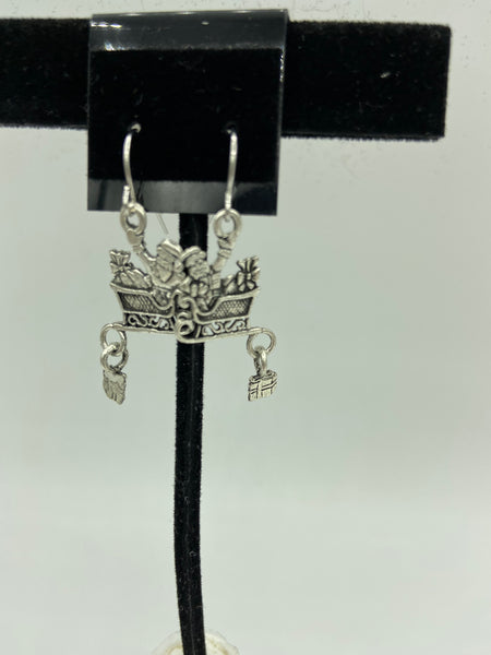 silvertone christmas sleigh and gift charm dangle earrings