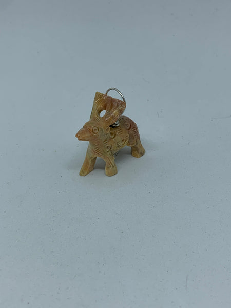 Natural Soapstone Gemstone Carved 3D Reindeer Pendant