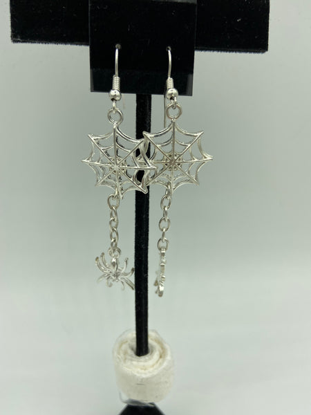 Halloween Spider and Spiderweb Long Dangle Silvertone Earrings