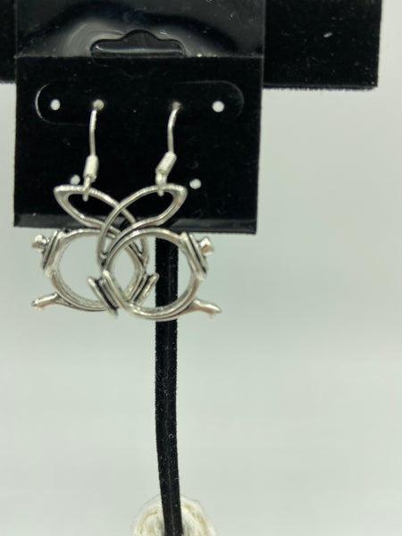 silvertone teapot charm dangle earrings with sterling silver hooks