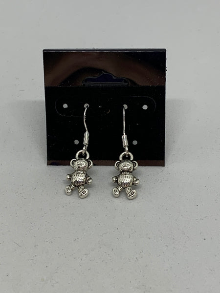 Silvertone Teddy Bear Charm Dangle Earrings with Sterling Silver Hooks