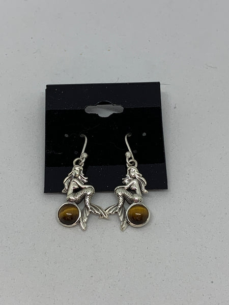 Natural Tiger Eye Gemstone Sterling Silver Mermaid Dangle Earrings