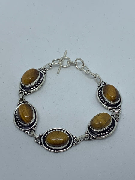 Natural Tiger Eye Gemstone Ovals Sterling Silver Adjustable Link Bracelet