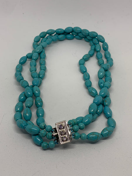 Natural Turquoise Gemstone Round and Rice Beaded 3 Strand Necklace
