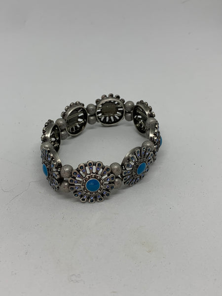 Turquoise Blue and Silver Flowers Glass Beaded Stretch Bracelet