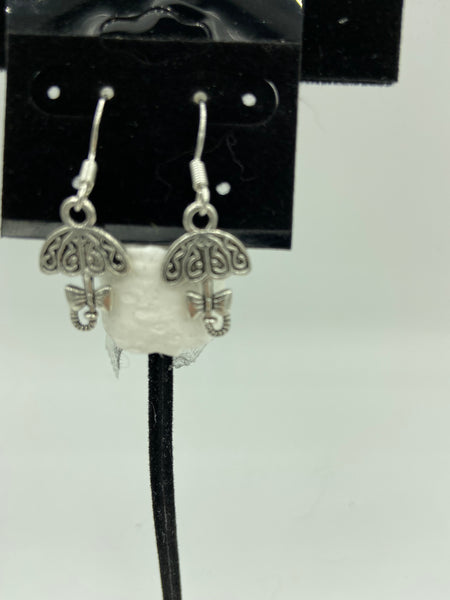 silvertone umbrella charm dangle earrings with sterling silver hooks
