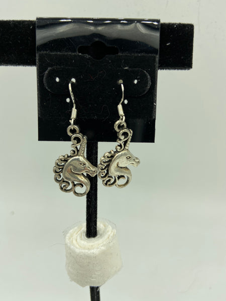 Silvertone Mythical Unicorn Charm Dangle Earrings with Sterling Silver Hooks