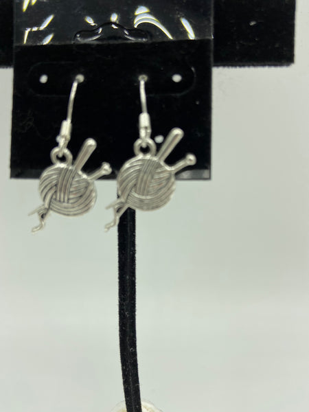 Silvertone Yarn Ball Charm Dangle Earrings with Sterling Silver Hooks