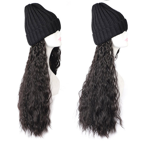 Winter Knit Hat With Black Brown Long Wavy Synthetic Hair Wig