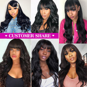 Body Wave Virgin Hair Wig With Free Part Bangs Machine Made Human Hair Wigs