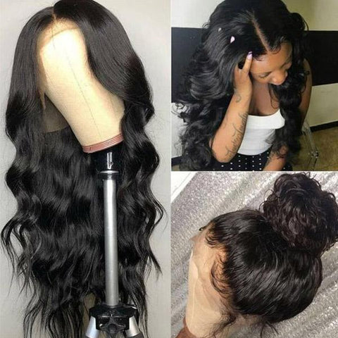 Hairsmarket Body Wave Hair 13*4 Lace Front Wig 10A Grade Virgin Remy Human Hair Wigs